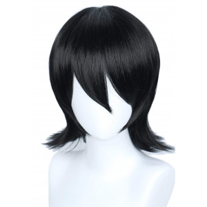 Linfairy Unisex Short Black Straight Cosplay Wig Halloween Costume Wig for Women