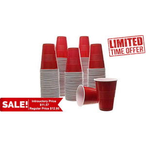 Party Bargains Red Plastic Party Cup Cold Cups 16 Ounce 100 Pack