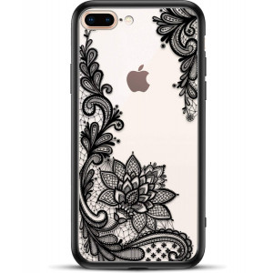 Viromo TM - Matte Phone Case Compatible with Apple iPhone 8 Plus 7 Plus for Girl Women - Cute Black Floral Design Shockproof Protective Slim Ultra Thin Hard Back Cover Rubber Bumper Cool Flowers Henna