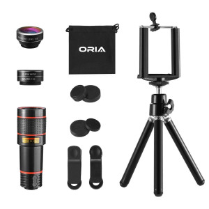 Phone Camera Lens, ORIA 4 in 1 Phone Lens, 198Fisheye Lens, 12X Zoom Telephoto Lens, 15X Macro Lens and 0.63X Wide Angle Phone Holder, Tripod Smartphone, Samsung, Laptops