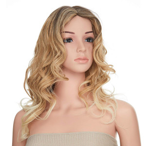 Onedor 26 Inch Curly Gradient Bleach Blonde Ombre Hair Wig with Wig Cap
