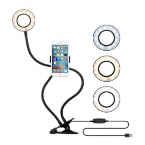 Selfie Ring Light with Cell Phone Holder, ZIKO 3 Light Mode Ring Light with Stand for Live Stream Cellphone Clip Holder Lazy Bracket with Desk Lamp LED Light for Youtube Facebook Fit Smartphone