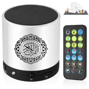 Digital Ramadan Quran Speaker Coran Player 8GB FM Radio with Remote Control Over 18 Reciters and Translations Available Quality Qur'an Player Arabic English French, Urdu etc Mp3 Silver Color