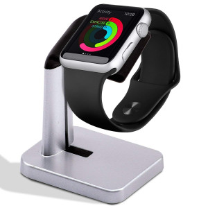 A'O Apple Watch Charging Dock Compatible with iWatch Charger (not Included) Series 4 / Series 3 / Series 2 / Series 1 44mm, 42mm, 40 mm, 38 mm. Compact Travel Aluminium Stand.