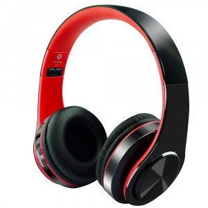 Alitoo Bluetooth Headphone Over Ear,Wireless HiFi Stereo Headset Foldable Built in Microphone Noise Cancelling for iPhone,TV,PC,Android,Smartphone,Tablets (BlackandRed)