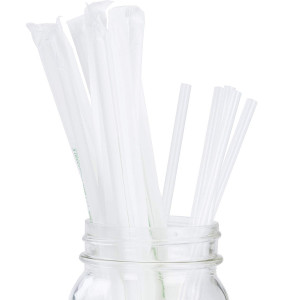 Clear Plastic Biodegradable Straws 200 Bulk Pack. Reduce Your Carbon Footprint With a Compostable, Plant-Based, Eco-Friendly Drinking Straw! Individually Wrapped, Proudly USA-Grown and No Petroleum!