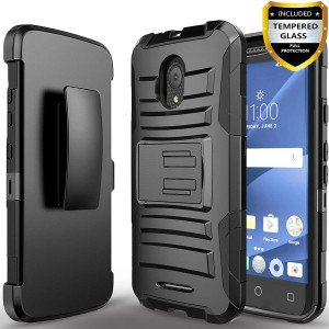 Alcatel IdealXcite Case, Alcatel Raven LTE Case, Alcatel Verso Case, Alcatel CameoX Case, Circlemalls [Combo Holster] And Built-In Kickstand With [Temerped Glass Screen Protector] And Stylus Pen-Black