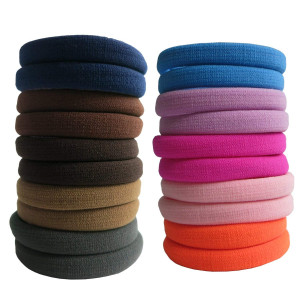 Thick Hair Ties, BETITETO 20 Pieces Seamless Ponytail Holders Scrunchies Women Cotton Stretch Hair Elastics for Thick Heavy or Curly Hair (Multicolor)