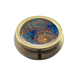Pill Box - Cheliz Compact 3 Compartment Medicine Case, Pill Box for Pocket or Purse(Blue Compass-1)