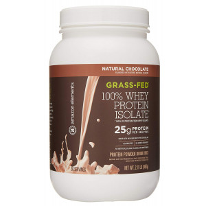 Amazon Elements Grass-Fed 100% Whey Protein Isolate Powder, Natural Chocolate, 2lbs