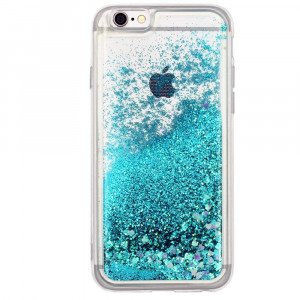 """iPhone 7 case, iPhone 8 case Floating Quicksand Glitter Bling TPU case, Flowing Liquid Sparkle case iPhone 7/8 4.7"""" (Turquoise)'"""