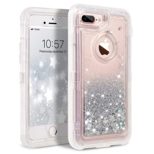 iPhone 8 Plus Case, iPhone 7 Plus Case, Dexnor Glitter 3D Bling Sparkle Flowing Liquid Case Transparent 3 in 1 Shockproof TPU Silicone + PC Cover for iPhone 8 Plus/ 7 Plus/6s Plus/6 Plus - Silver