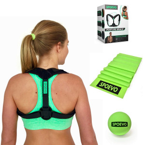 SPOEVO Back Posture Corrector for Women and Men - Bundle Includes Massage Ball and Resistance Band with Back Straightener Posture Brace for Natural Spine Alignment
