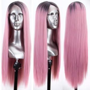Persephone Glueless L Part Pink Lace Front Wigs Ombre with Dark Roots Long Straight Synthetic Wig with Side Part Ombre Baby Pink Lace Wigs for Women 24 Inches