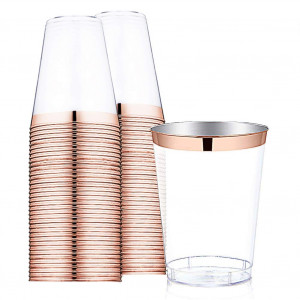 9 oz Rose Gold Plastic Cups -Disposable Clear Plastic Cups With Rose Gold Rim-Hard Party/Wedding Plastic Tumblers 60Pack-WDF (Rose Gold Cups)