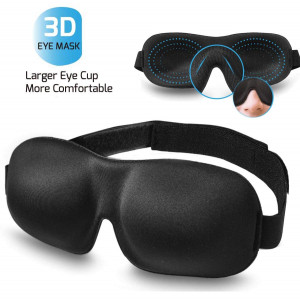 Sleep Mask for Woman and Man, BearMoo 3D Countered Sleeping Eye Mask, Innovative Light Blocking Design Blindfold, Supper Smooth and Light Eye Mask for Traveling - Black