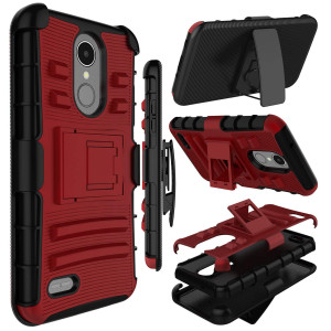 LG LV3 2018 Case, LG Aristo 2 Case, LG Tribute Dynasty Case, Zenic Heavy Duty Shockproof Full-Body Protective Hybrid Case with Swivel Belt Clip and Kickstand for LG Rebel 3(Red)
