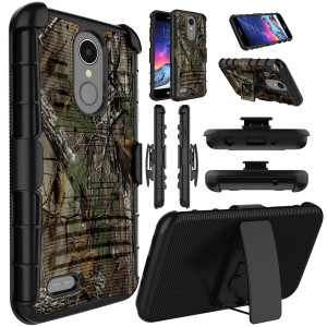 Elegant Choise Compatible with LG Fortune 2 Case, LG Aristo 2 Case, LG Rebel 3 / LG Phoenix 4 / K8 2018 Case, Holster Heavy Duty Full Body Protection [Belt Clip] with Kickstand Protective Case - Camo