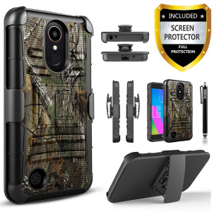 LG Aristo 2 Case, LG Tribute Dynasty Case, LG Rebel 3 LTE Phone Case, With [Premium Screen Protector] With Kickstand Holster Heavy Duty And Stylus For LG Zone 4/Fortune 2/Risio 3/LG Aristo 2 Plus-Camo