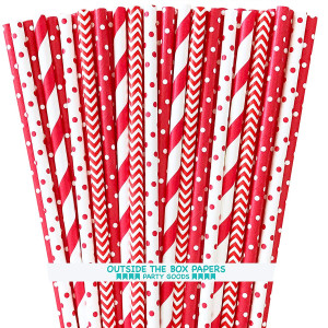 Paper Drinking Straws - Red and White - Stripe Chevron Polka Dot - 7.75 Inches - 100 Pack