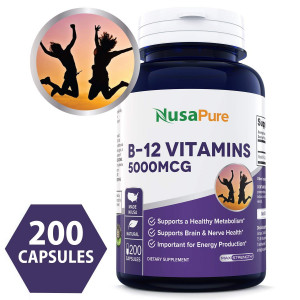 Best Vitamin B12 - 5000 MCG 200 capsules (NON-GMO and Gluten Free) - Max Strength Vitamin B 12 Support to Help Boost Natural Energy, Benefit Heart Function - 100% MONEY BACK GUARANTEE!