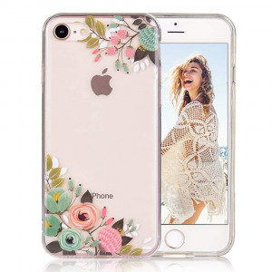 COSANO iPhone 8 case, for iPhone 7 case girls Floral Clear Design soft slim Fit [Hard PC Back + Shock Absorbing Soft Bumper] Transparent Protective Cover for iPhone 7 iPhone 8 (Vintage Floral 8)