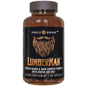 Lumberman Premier Beard and Hair Growth Vitamin Formula - Stronger Healthier Hair. Hair Growth Supplement w/Biotin, MCT, Vitamin D3 and B3 Folate and More - Supplement for All Hair Types - Feelz Good