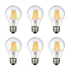 Vintage Edison LED Bulb, Dimmable 6W A19 Antique LED Bulb, 60 Watt Equivalent for Ceiling Fan and Pendant Lighting, E26 Clear Glass Cover, Soft Warm White 2700k, 550LM, Pack of 6(2 Year Warranty)