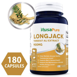 Pure Longjack Tongkat Ali 900mg 180 Caps (NON-GMO and Gluten Free) - Natural Testosterone Booster, Increase Physical Endurance - Made in USA - 100% MONEY BACK GUARANTEE  Order Risk Free!