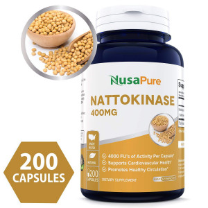 Pure Nattokinase 400 mg 200 capsules 4000 FU (NON-GMO and Gluten Free) Supports Cardiovascular Health, Natural Blood Thinner - Proudly Made in USA - 100% MONEY BACK GUARANTEE - Order Risk Free!