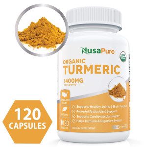 USDA Organic Turmeric Curcumin with Black Pepper Extract Vegan 1400mg per Serving - Joint Pain Relief and Anti-Inflammatory Powder - Organic Black Pepper Instead of BioPerine - 120 Tablets: No Pills