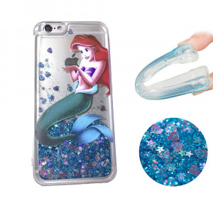 Gotech for iPhone 6 or iPhone6S, Brilliant Luxury Glitter Liquid Floating Protective case,Bling Bling Little Mermaid Ariel Holding Logo Apple (for iPhone 6S/iPhone 6)