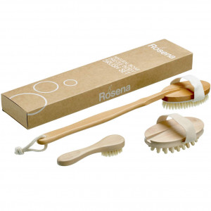 Dry Brushing Body Brush Set - Best for Cellulite, Lymphatic Drainage and Skin Exfoliating - Natural Bristle Spa Kit - Long Handle Back Scrubber, Massager and Face Exfoliator for Radiant Skin