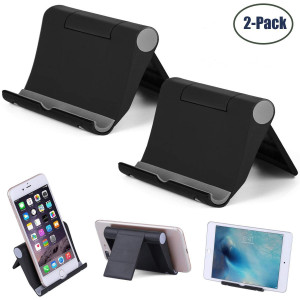"""Cell Phone Stand Multi-Angle,2 Pack Tablet Stand Universal Smartphones for Holder Tablets(6-11""""), e-Reader, Compatible iPhone X/8/8 Plus/7/7 Plus, Galaxy S8/S7/Note 8, Air, Mini, Pixel 2(Black)"""
