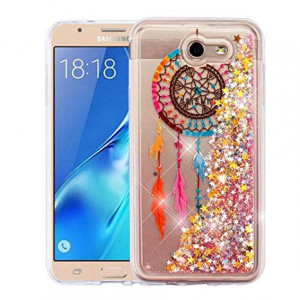 Wydan Case for Samsung Galaxy J7 Sky Pro, Perx, J7 V, J7 Prime, Halo, J7 2017 - Slim Hybrid Liquid Bling Glitter Sparkle Quicksand Waterfall Shockproof TPU Phone Cover - Dreamcatcher