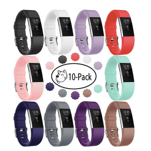 Fundro Compatible for Fitbit Charge 2 Bands, 10-Pack Soft Accessory Replacement Wristband Strap Classic Large Small Band with Secure Metal Clasp for Fitbit Charge 2