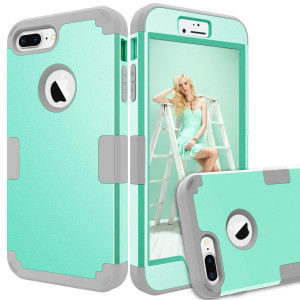 iPhone 8 Plus Case, iPhone 7 Plus Case, KAMII [Heavy Duty] Drop-Protection Hard PC Soft Silicone Combo Hybrid Impact Defender Full-Body Protective Case for iPhone 8 Plus / 7 Plus 5.5 (Aqua+Grey)