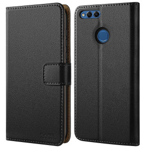 HOOMIL Honor 7X Case, Huawei Mate SE Case Premium Leather Case for Huawei Honor 7X/Huawei Mate SE Phone Wallet Case Cover (Black)
