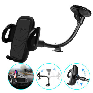 Volport Windshield Phone Mount,Universal Windscreen Dashboard Long Arm Window Car Cradle Suction Cup Phone Holder for iPhone Xs Max XR X 8 8 Plus 7 6 6S,Samsung Galaxy J7 S9 S8 S7, Google Pixel