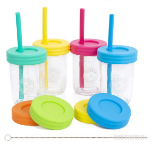 Kids 8oz Glass Mason Jar Drinking Cups with Straw Lids + Leak Proof Regular Lids + Silicone Straws + Cleaning Brush - No Rust, Less Spills for Toddlers and Kids + Food Storage (4 Pack)