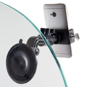 Livestream Gear - Glass Suction Mount for Phone, Perfect for Live Stream, FB Live, Youtubers, or Photos. Great for Glass or Mirror. Use for WOD; Fitness Streams at Home, or Gym. (Md. Phone Holder)
