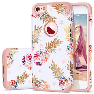 iPhone 6 Case,iPhone 6S Case Pineapple,Fingic Slim Floral Pineapple Design Case Anti-ScratchandSlip Cover Hard PC Soft Rubber Silicone Cover Case for iPhone 6/ 6S 4.7'',Cute Pineapple/Rose Gold