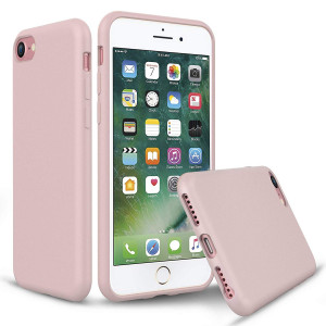 PENJOY Silicone Case for Apple iPhone 6 / 6s / 7/8, Full Body Protection Silicon Cases Support Wireless Charging Slim Rubber Cover, Sand Pink