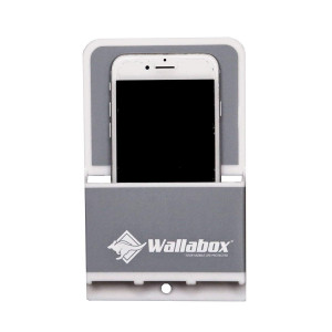 Wallabox - Universal Cell Phone Holder, Wall Mount - Great for Bedroom, Bathroom, Kitchen, Office, Car, Charging Station. 3M Removable Non-Damaging Strips, Foam Tape, Screws included (Steel Gray)