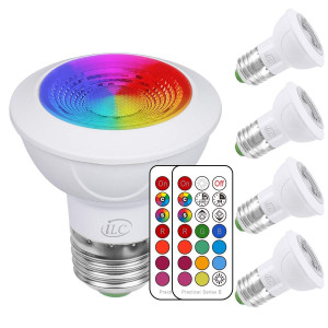 iLC LED Light Bulbs Color Changing E26 Screw 45, 12 Colors 3W Dimmable Warm White 2700K RGB LED Spot Light Bulb with Remote Control, 20 Watt Equivalent (Pack of 4)