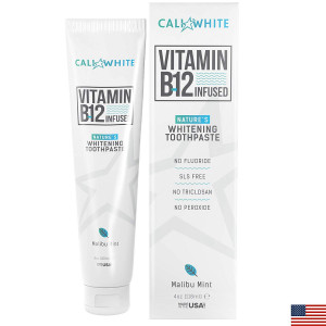 Cali White VEGAN WHITENING TOOTHPASTE with VITAMIN B12, Organic Mint, Natural Whitener, Made in USA, Fluoride Free, Gluten Free, Xylitol, Best Methylcobalamin B 12 for Sublingual Absorption, Kids Safe