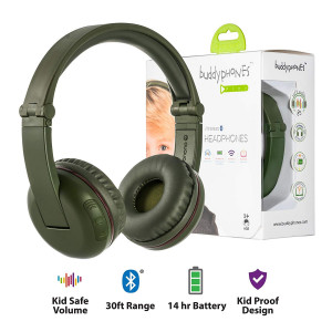Wireless Bluetooth Headphones for Kids - BuddyPhones Play | Kids Safe Volume Limited to 75, 85 or 94 dB | Foldable with 14-Hour Battery Life | Optional Cable for Audio Sharing | Green