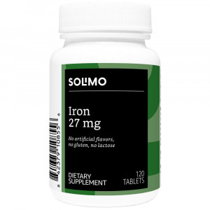 Amazon Brand - Solimo Iron (as ferrous gluconate) 27mg 120 Tablets, Four Month Supply