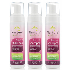 No Rinse Shampoo by Nurture | Rinse Free Shower Cap Alternative - Foaming Pump Bottle - Waterless Nourishing Foam Shampoo That Cleanses and Rejuvenates - 3 Bottles - 8.5 fl oz Each