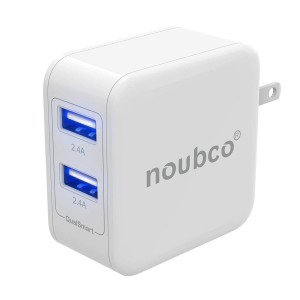 Noubco Wall Charger | 4.8A 24W Dual USB Port AC Charging Block with Foldable Plug | Compatible with iPhone, iPad, iPod, and Other OEM Apple Devices - White